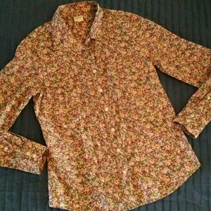 J. Crew The Perfect Shirt Floral Long Sleeve Sz S